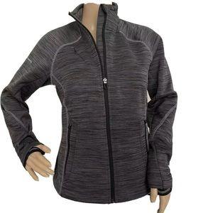 Gray Texture Zip Up Track Jacket Athleisure Zipper